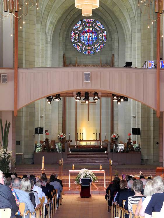 The casket of veteran broadcaster Sir Paul Holmes sits in the Holy Trinity Cathedral, Parnell, Auckland, New Zealand, Friday, February 08, 2013. Credit:SNPA / Ross Land