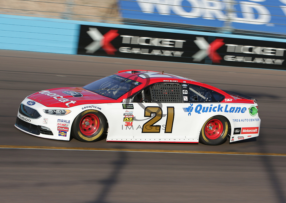 Ryan Blaney qualifies for Sunday's NASCAR Cup Series auto race on Friday, March 17, 2017, in Avondale, Ariz.  (AP Photo/Rick Scuteri)