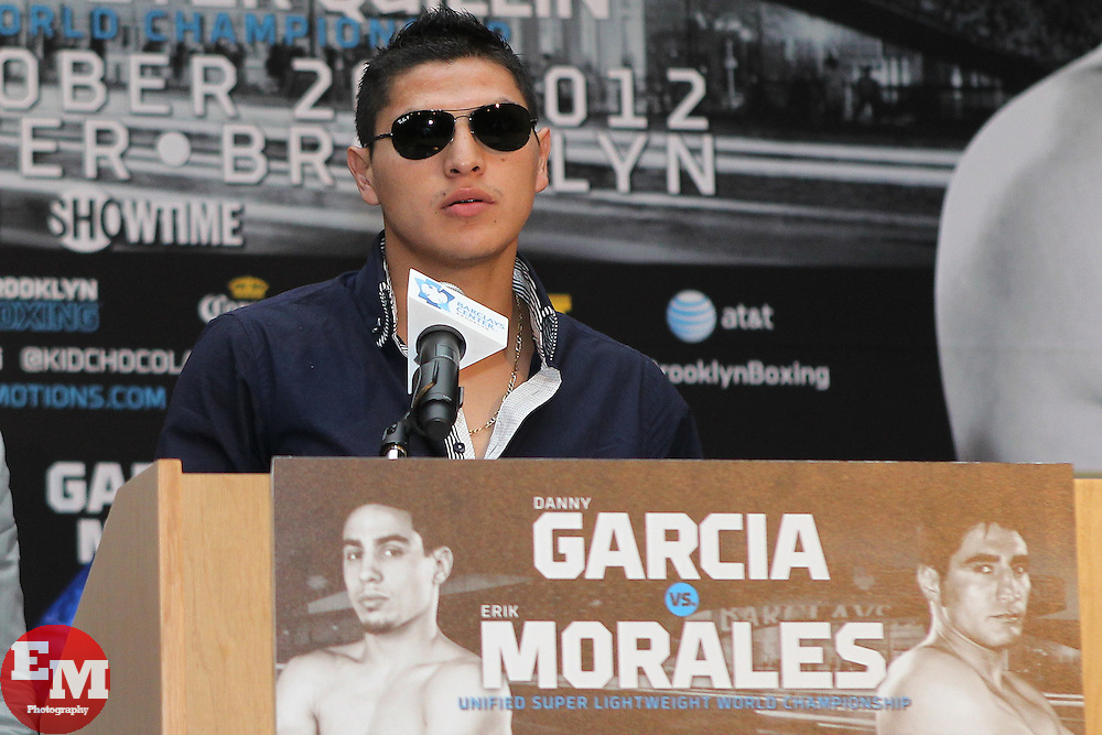 Aug 30, 2012; Brooklyn, NY, USA; Welterweight Pablo Cesar Cano speaks at the press conference at New York Marriott at the Brooklyn Bridge. The press conference announced the upcoming October 20th card at the Barclay's Center.