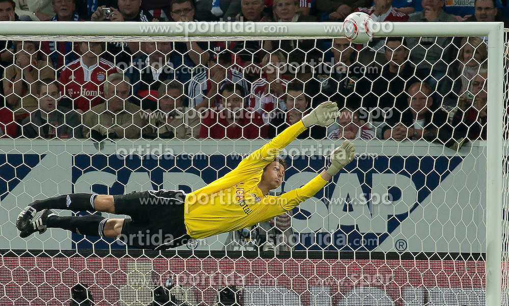 21.09.2010, Rhein-Neckar-Arena, Sinsheim, GER, 1. FBL, TSG Hoffenheim vs FC Bayern Muenchen, im Bild Hans Joerg Butt (Bayern #1) fliegt durch den Strafraum, EXPA Pictures © 2010, PhotoCredit: EXPA/ nph/  Roth+++++ ATTENTION - OUT OF GER +++++ / SPORTIDA PHOTO AGENCY
