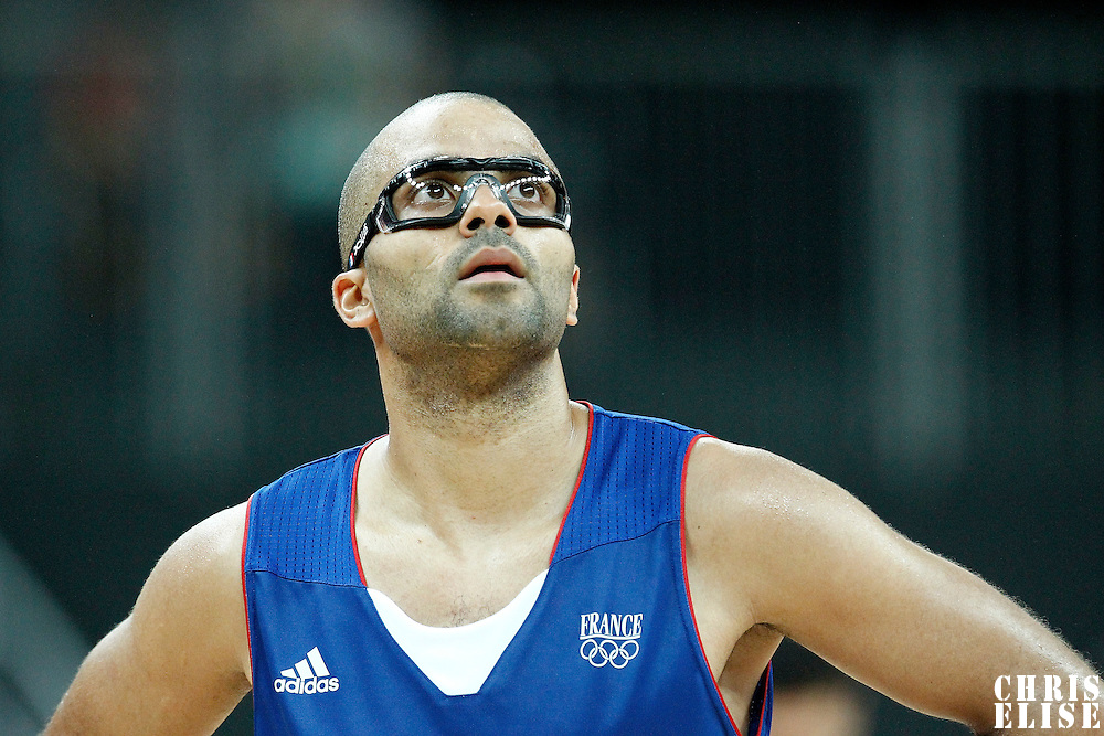04 August 2012: France Tony Parker rests during 73-69 Team France victory over Team Tunisia, during the men's basketball preliminary, at the Basketball Arena, in London, Great Britain.