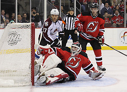 Mar 15; Newark, NJ, USA; New Jersey Devils goalie Martin Brodeur (30) makes a save during the first period of their game against the Colorado Avalanche at the Prudential Center.