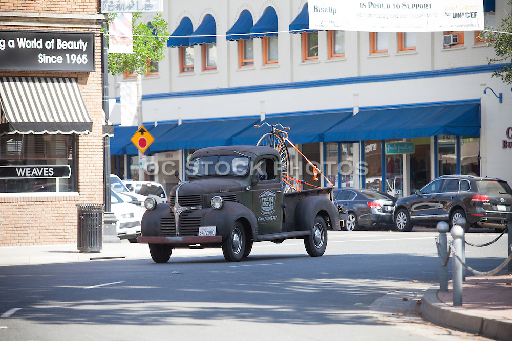 Vintage Truck and Bicycle in Old Towne Orange Historic District