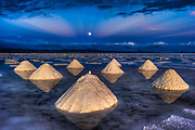 Salt piles, Salar de Uyuni, Bolivia.