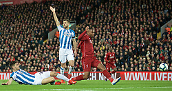LIVERPOOL, ENGLAND - Friday, April 26, 2019: Liverpool's Daniel Sturridge sees his goal disallowed for offside during the FA Premier League match between Liverpool FC and Huddersfield Town AFC at Anfield. (Pic by David Rawcliffe/Propaganda)