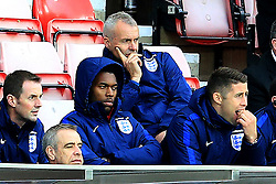 Daniel Sturridge and Gary Cahill of England look down as they watch the game from the stands - Mandatory by-line: Matt McNulty/JMP - 27/05/2016 - FOOTBALL - Stadium of Light - Sunderland, United Kingdom - England v Australia - International Friendly
