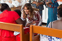 October 2, 2018 - Accra, Ghana, West Africa - First Lady Melania Trump and the First Lady of the Republic of Ghana meet with mothers and children Tuesday in the Child Welfare Clinic, the original wing of the Greater Accra Regional Hospital in Accra, Ghana. (Credit Image: ? Andrea Hanks/White House via ZUMA Wire/ZUMAPRESS.com)