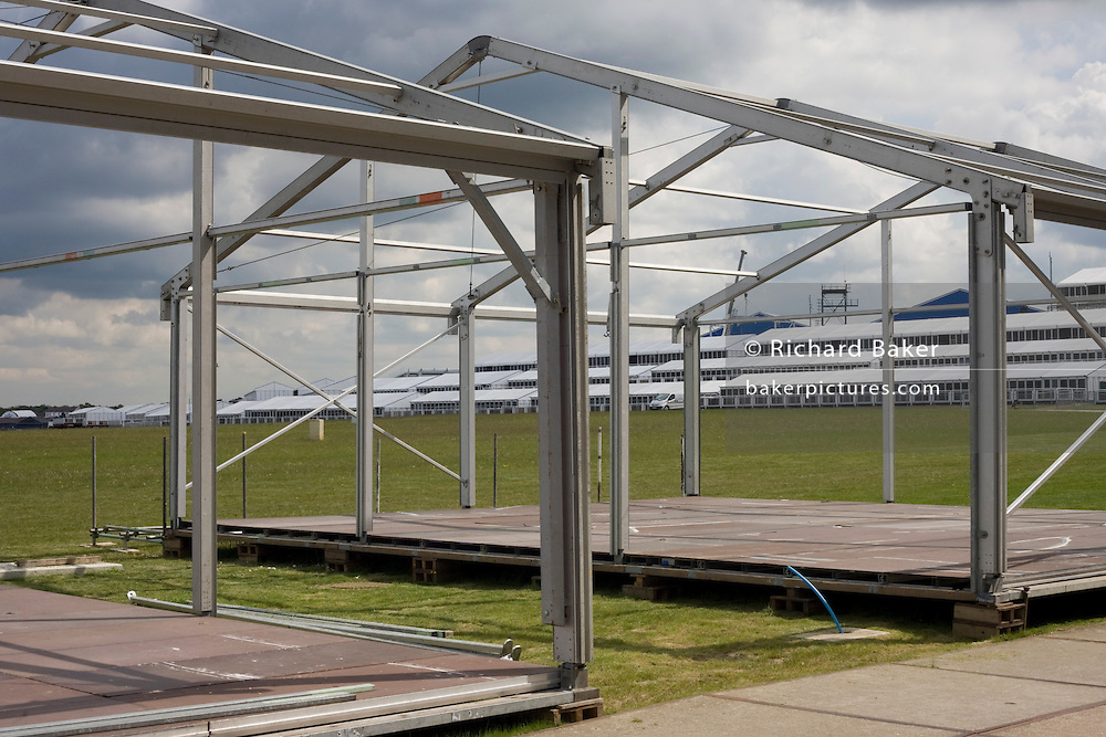 Corporate chalet buildings that will accomodate aviation companies under construction before Farnborough International Airshow