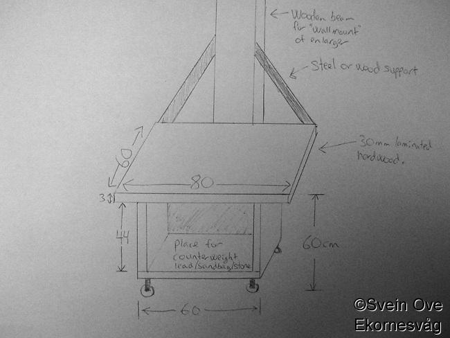 Skisse av hvordan jeg tenkte å bygge trallen til forstørreren. Noen småjusteringer ble det underveis.<br /> Foto: Svein Ove Ekornesvåg
