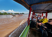 Laos, Champasak province. Vat Phou Cruise. Excursion with small boats to the Four Thousand Islands.