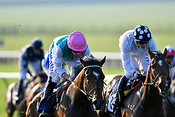 Breath Caught ridden by Ryan Moore (left) goes on to win The Close Brothers Premium Finance Handicap during day three of The Bet365 Craven Meeting at Newmarket Racecourse.