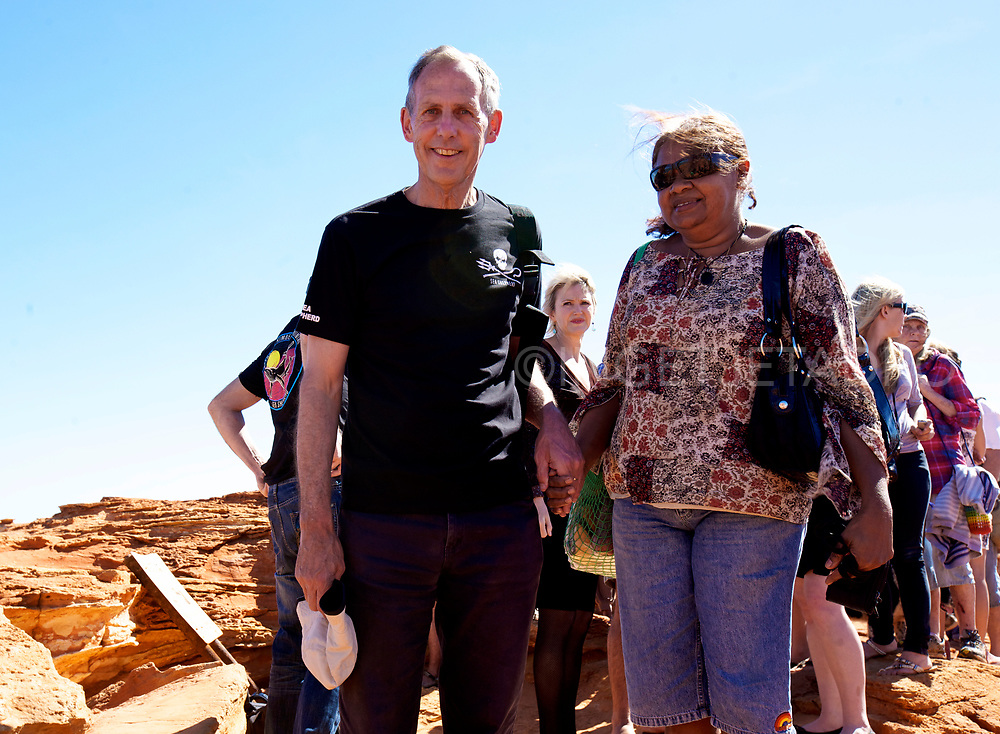 Bob Brown (L), ex Green's leader is welcomed to country by Lorna Kelly Cox from the Ngombarl tribe. The Sea Shepherd launched Operation Kimberley Miinimbi , as the Ex Senator states that a gas hub near Broome in Western Australia will cause untold damage to the local environment. Broome, WA