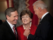 Nov 29, 2010 - Washington, District of Columbia, U.S. - Vice President JOE BIDEN jokes with Sen. MARK KIRK, (R-IL) and his mother JUDY KIRK on Monday, following a re-enactment of the swearing-in at the Old Senate Chamber in the U.S. Capitol..(Credit Image: © Pete Marovich/ZUMA Press)