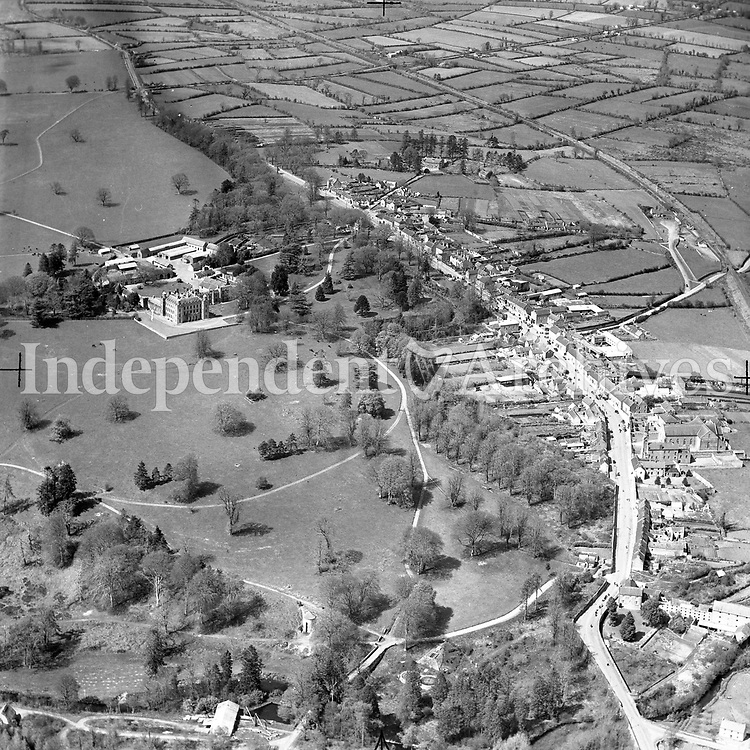 A69 Borris.   (27/02/53) (Part of the Independent Newspapers Ireland/NLI collection.)<br /> <br /> <br /> These aerial views of Ireland from the Morgan Collection were taken during the mid-1950's, comprising medium and low altitude black-and-white birds-eye views of places and events, many of which were commissioned by clients. From 1951 to 1958 a different aerial picture was published each Friday in the Irish Independent in a series called, 'Views from the Air'.<br /> The photographer was Alexander 'Monkey' Campbell Morgan (1919-1958). Born in London and part of the Royal Artillery Air Corps, on leaving the army he started Aerophotos in Ireland. He was killed when, on business, his plane crashed flying from Shannon.