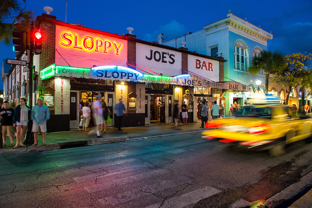 KEY WEST, FL - CIRCA 2012: View Slopppy Joe's Bar in Duval Street  a landmark in Key West circa 2012. The tropical city is a popular tourist destination with over 2 million yearly visitors.