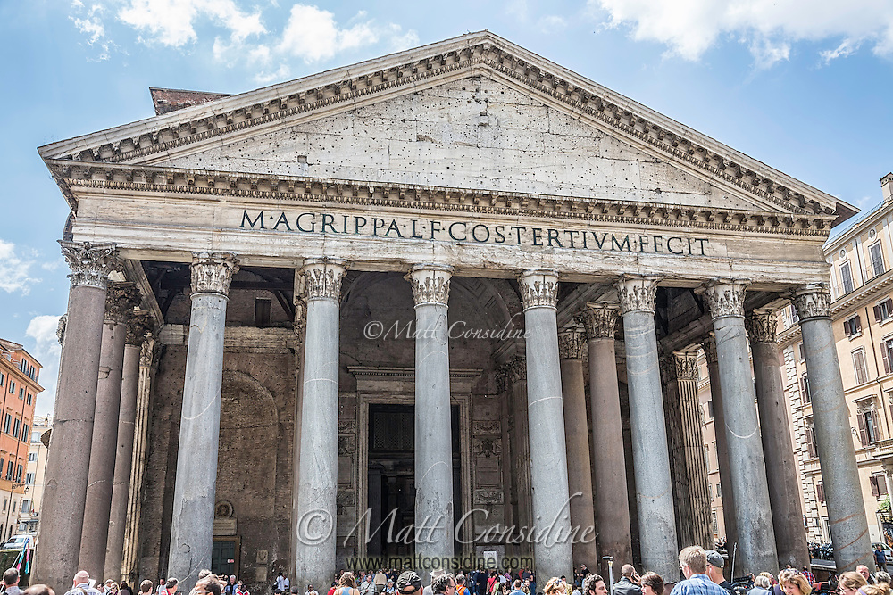 The Pantheon (temple of all gods) built, in 110 AD on the site of previous versions. It is in excellent condition and is still the largest unreinforced concrete dome in the world. This image has a painting effect applied. (Photo by Travel Photographer Matt Considine)