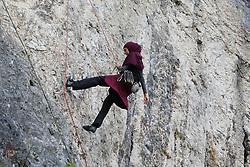 SARAJEVO, Sept. 9, 2017  A mountaineer climbs on the cliff Dariva near Sarajevo, Bosnia and Herzegovina, on Sept. 8, 2017. Bosnia and Herzegovina is a hilly country with a diverse landscape and offers numerous hiking locations. (Credit Image: © Haris Memija/Xinhua via ZUMA Wire)