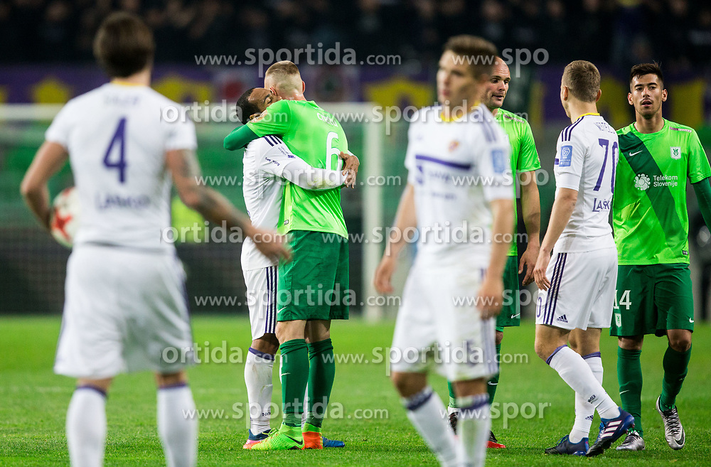 Marcos Tavares of Maribor and Alexandru Cretu of NK Olimpija after the football match between NK Olimpija and NK Maribor in Round #31 of Prva liga Telekom Slovenije 2016/17, on April 29, 2017 in SRC Stozice, Ljubljana, Slovenia. Photo by Vid Ponikvar / Sportida