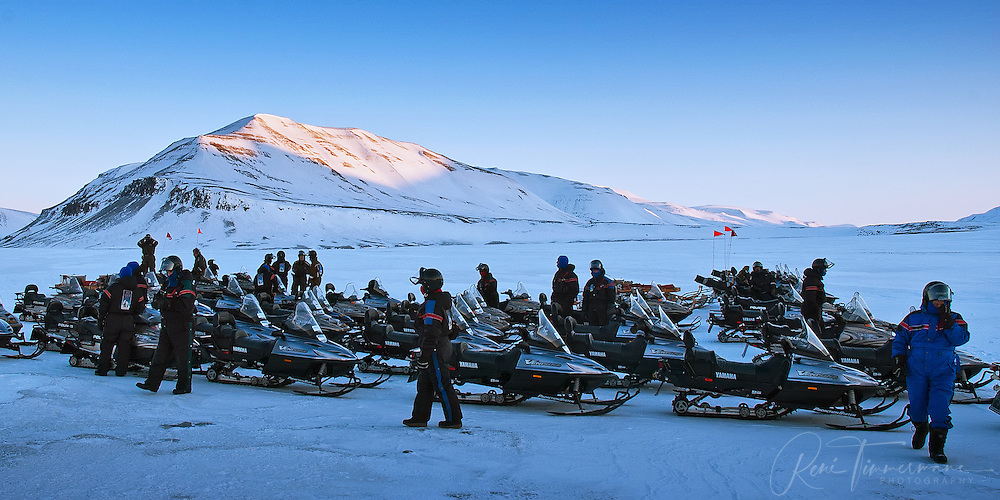 Snow-scooter safari at Svalbard.