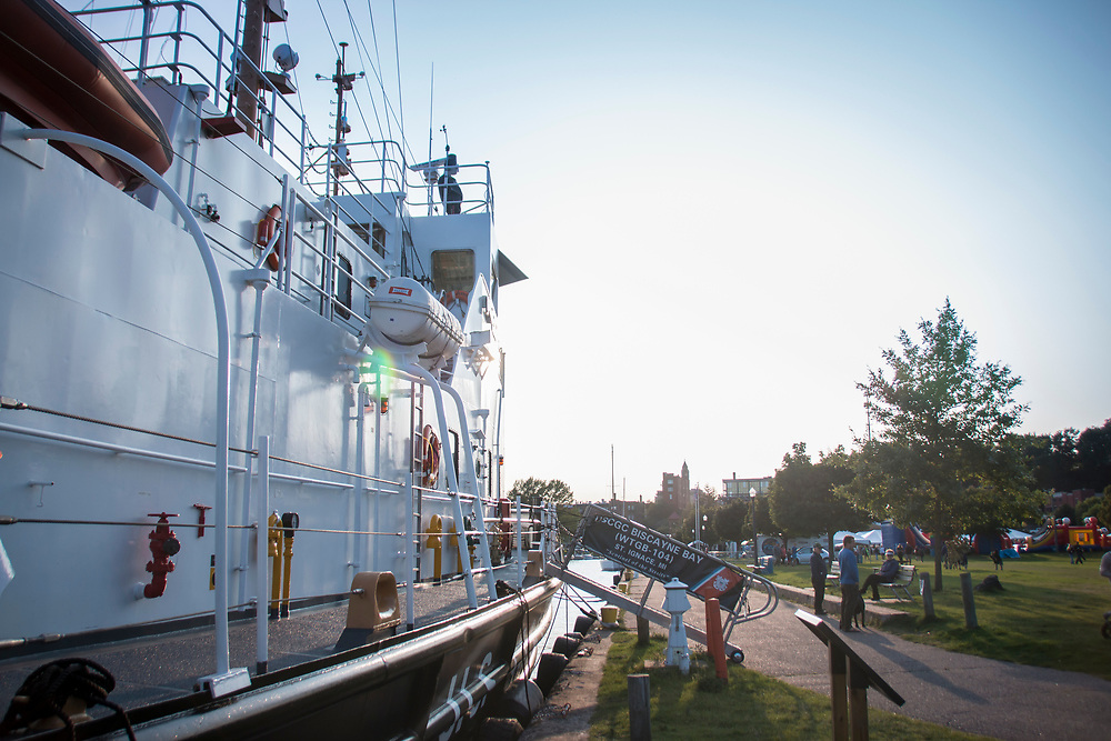 coast Guard cutter Biscayne Bay in downtown Marquette, Michigan for Harborfest.