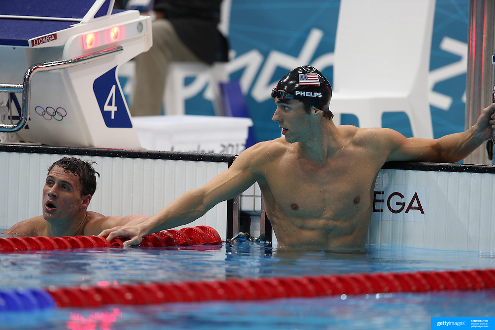 Michael Phelps, USA, winning the Gold Medal in the Men's 200m Individual Medley Final from team mate Ryan Lochte who won silver at the Aquatic Centre at Olympic Park, Stratford during the London 2012 Olympic games. London, UK. 1st August 2012. Photo Tim Clayton