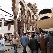 Roman monumental arch at the end of the Souq, Damascus