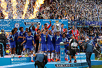 Football - 2014 / 2015 Premier League - Chelsea vs. Sunderland.   <br /> <br /> Chelsea's John Terry collects the Barclay's Premier League Trophy at Stamford Bridge. <br /> <br /> COLORSPORT/DANIEL BEARHAM