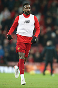 Liverpool forward Divock Origi (27) warming up during the Premier League match between Liverpool and Everton at Anfield, Liverpool, England on 4 December 2019.