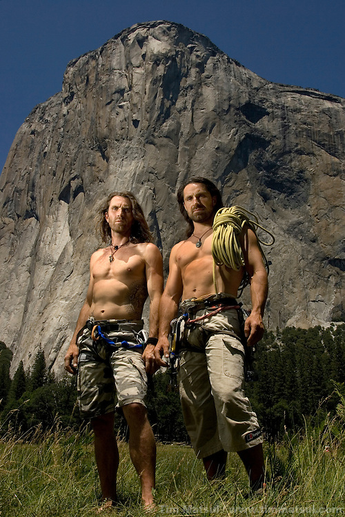 Thomas and Alexander Huber in El Cap Meadows in front the Nose of El Capitan in Yosemite National Park, California, USA.