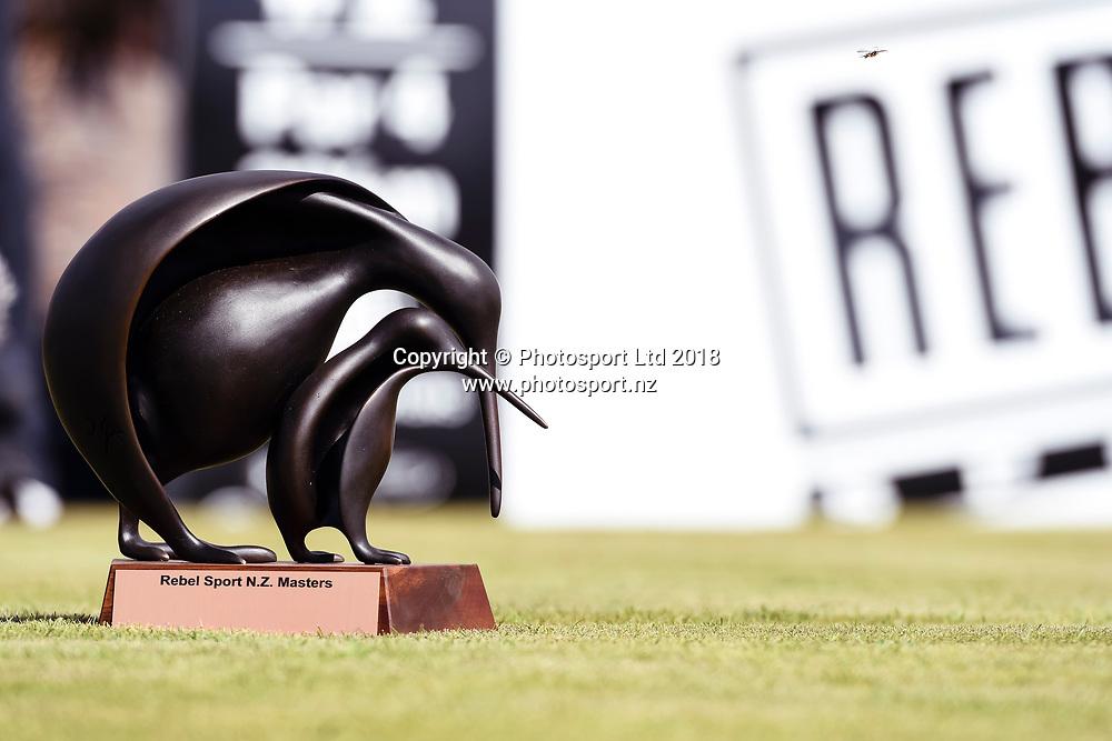 NZ Rebel Sports Masters trophy.<br /> NZ Rebel Sports Masters, Wainui Golf Club, Wainui, Auckland, New Zealand. 14 January 2018. &copy; Copyright Image: Marc Shannon / www.photosport.nz.