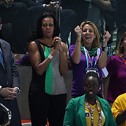 Michelle Obama reacts while watching the Women's 4 X 100m Freestyle relay during the swimming finals at the Aquatic Centre at Olympic Park, Stratford during the London 2012 Olympic games. London, UK. 28th July 2012. Photo Tim Clayton