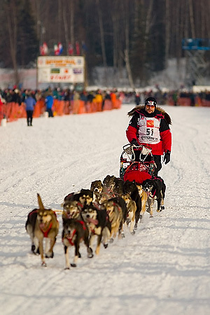 05 March 2006: Willow, Alaska - Fabrizio Lovati of Vallee D'Aoste, Italy heads out to Nome at the restart of the 2006 Iditarod on Willow Lake in Willow, Alaska
