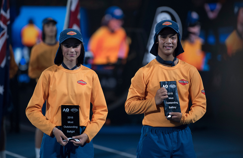 Ball kid of the year award presentation during the 2018 Australian Open on day 12 in Melbourne, Australia on Friday night January 26, 2018.<br /> (Ben Solomon/Tennis Australia)