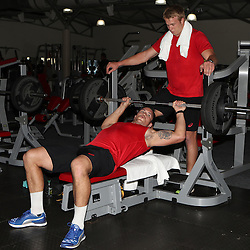 DURBAN, SOUTH AFRICA - OCTOBER 03: Francois Louw with Pieter-Steph du Toit during the South African national rugby team gym session at Virgin Active La Lucia on October 03, 2016 in Durban, South Africa. (Photo by Steve Haag/Gallo Images)