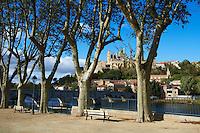 France, Herault (34), Beziers, la cathédrale Saint Nazaire et le Pont Vieux sur l' Orb // France, Herault department, Beziers, Saint Nazaire cathedrale and the river Orb
