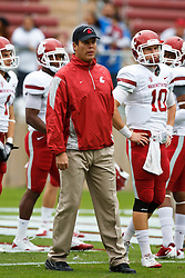October 23, 2010; Stanford, CA, USA;  Washington State Cougars head coach Paul Wulff watches his team warm up  before the game against the Stanford Cardinal at Stanford Stadium.