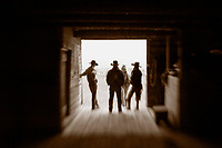 LB00146-01...WYOMING - Ranch hands in the barn on the Willow Creek Ranch. MR# B19 - B18 - P10 - M19 - C11