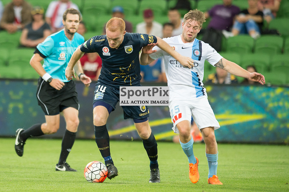 Daniel Heggernan of Central Coast Mariners, Jacob Melling of Melbourne City - Hyundai A-League,  25th October 2015, RD 3, Melbourne City FC v Central Coast Mariners with a win to City 3:1 © Mark Avellino | SportPix.org.uk