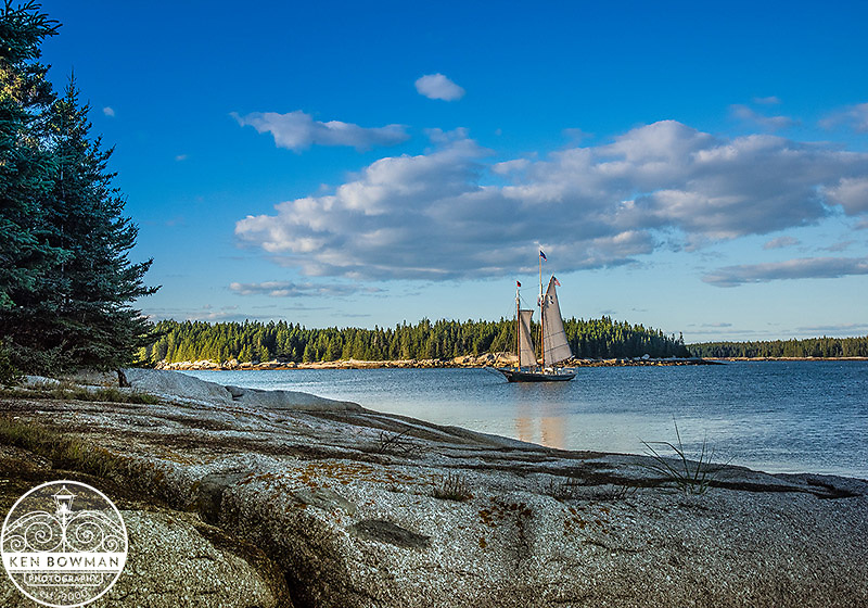 Stephen Taber Maine Windjammer anchored for lobster roast.