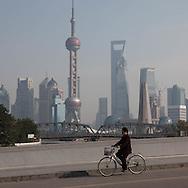 China, Shanghai. Pudong slyline and Waibadu bridge