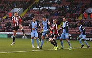 Harry Chapman of Sheffield Utd scores his first goal during the Emirates FA Cup Round One match at Bramall Lane Stadium, Sheffield. Picture date: November 6th, 2016. Pic Simon Bellis/Sportimage