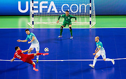 Romulo of Russia vs Ziga Ceh of Slovenia and Damir Puskar of Slovenia during futsal quarterfinal match between National teams of Slovenia and Russia at Day 7 of UEFA Futsal EURO 2018, on February 5, 2018 in Arena Stozice, Ljubljana, Slovenia. Photo by Vid Ponikvar / Sportida