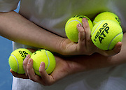 Official balls in ballgirl's hands two days before the BNP Paribas Davis Cup 2013 between Poland and South Africa at MOSiR Hall in Zielona Gora on April 03, 2013...Poland, Zielona Gora, April 03, 2013..Picture also available in RAW (NEF) or TIFF format on special request...For editorial use only. Any commercial or promotional use requires permission...Photo by © Adam Nurkiewicz / Mediasport