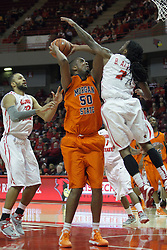 16 December 2012:  Ian Chiles takes a hack by Bryant Allen during a shot attempt during an NCAA men's basketball game between the Morgan State Bears and the Illinois State Redbirds (Missouri Valley Conference) in Redbird Arena, Normal IL
