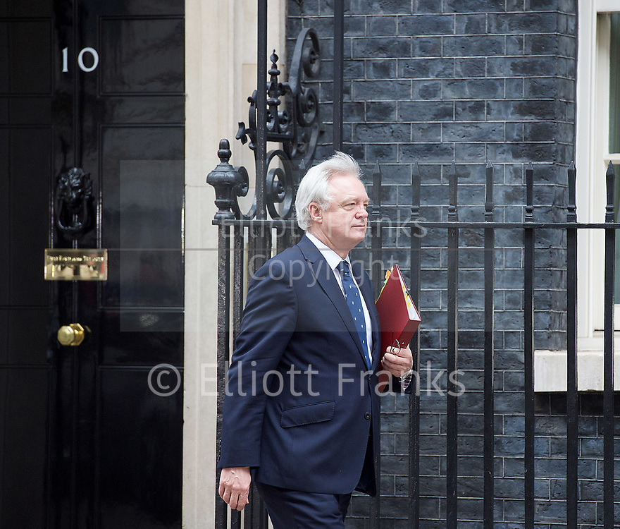 Cabinet Meeting <br /> 10 Downing Street London, Great Britain <br /> 29th March 2017 <br /> <br /> departures following the final cabinet meeting before Article 50 is triggered in Parliament today.<br /> <br /> David Davis MP<br /> Secretary of State for Exiting the European Union <br /> <br /> <br /> Photograph by Elliott Franks <br /> Image licensed to Elliott Franks Photography Services
