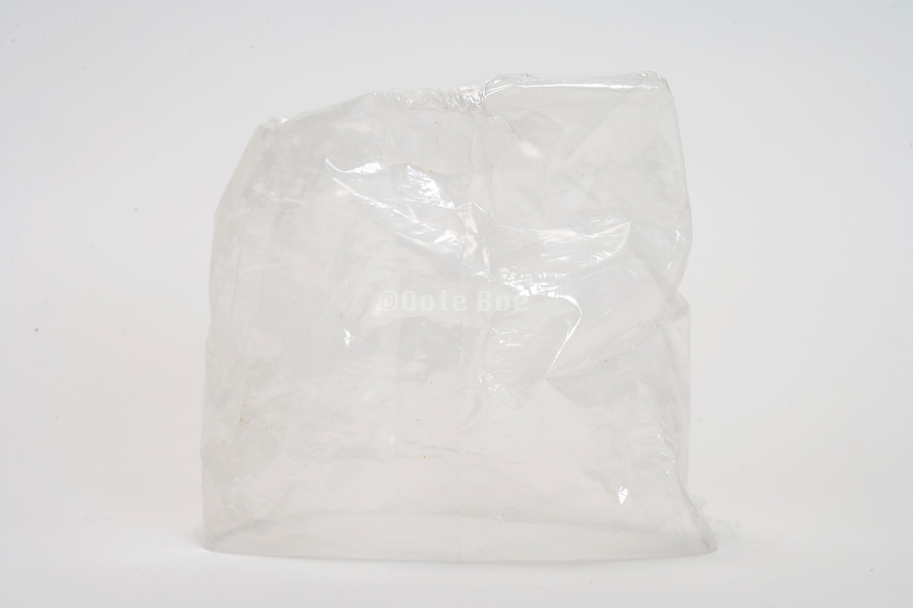 an empty transparent plastic bag upside down
