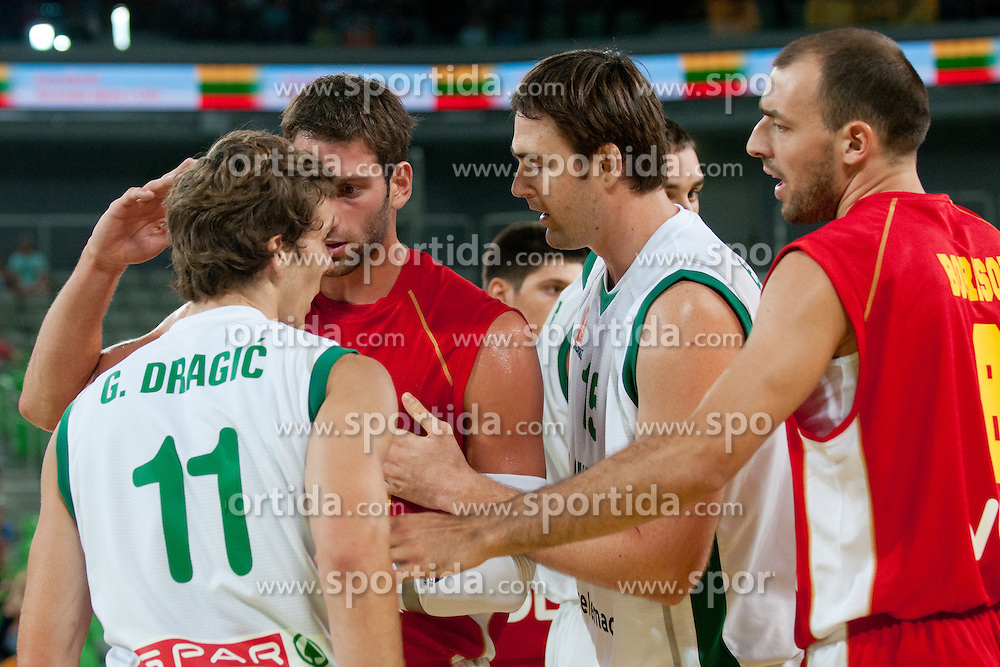 Vladimir Dasic of Montenegro talking aggressive to Goran Dragic of Slovenia at friendly match between Slovenia and Montenegro for Adecco Cup 2011 as part of exhibition games before European Championship Lithuania on August 7, 2011, in SRC Stozice, Ljubljana, Slovenia. (Photo by Matic Klansek Velej / Sportida)