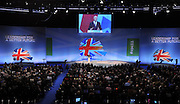 © Licensed to London News Pictures. 03/10/2011. MANCHESTER. UK. The Rt Hon Iain Duncan Smith MP, Secretary of State for Work and Pensions delivers a speech at The Conservative Party Conference at Manchester Central today, October 3, 2011. Photo credit:  Stephen Simpson/LNP
