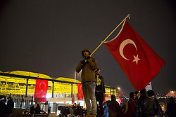 Anti-Terror Proteste in Istanbul - Fussballfans marschieren zum Stadion / 121216<br /> <br /> *** Soccer fans wave Turkish flags to protest Saturday's twin terror attacks at the blast site near a soccer stadium in Istanbul, Monday, December 12, 2016.  Nearly 44 people, mostly police officers lost their lives after twin bomb attacks outside the stadium in Istanbul Saturday night following a soccer game.  ***