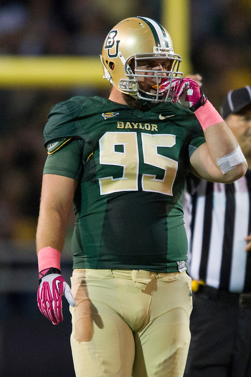 WACO, TX - OCTOBER 19: Beau Blackshear #95 of the Baylor Bears looks on against the Iowa State Cyclones on October 19, 2013 at Floyd Casey Stadium in Waco, Texas.  (Photo by Cooper Neill/Getty Images) *** Local Caption *** Beau Blackshear